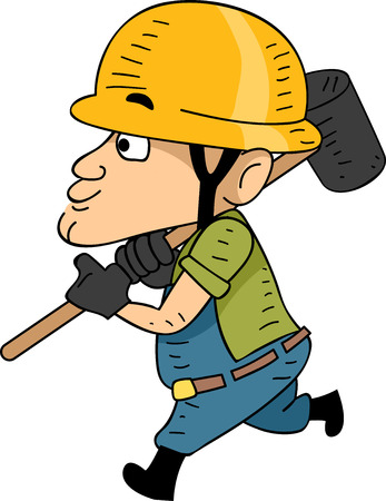 sledgehammer: Illustration of a Construction Worker Running While Holding a Sledgehammer