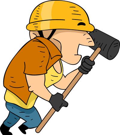 sledgehammer: Illustration of a Construction Worker Running While Holding a Sledgehammer