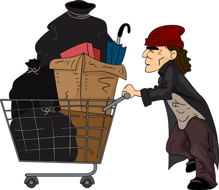 Illustration of a Homeless Man Pushing a Cart Filled with Recyclable Materials illustration