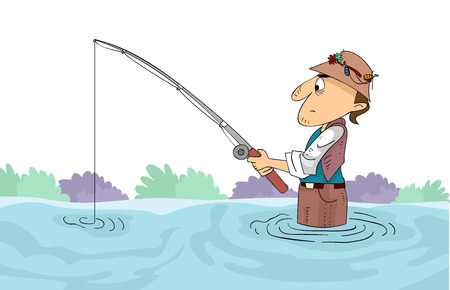 submerged: Illustration of a Man Holding a Fishing Rod Submerged in Knee-deep Water
