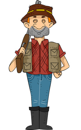 hunters: Illustration of a Male Hunter Carrying a Rifle Flashing a Big Grin Stock Photo