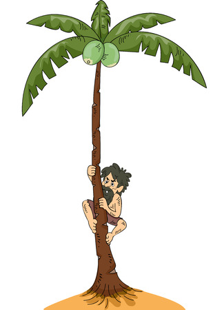 castaway: Illustration of a Man Stranded on an Island Climbing a Coconut Tree Stock Photo