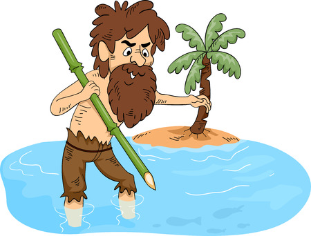 castaway: Illustration of a Man Stranded on an Island Trying to Catch Some Fish