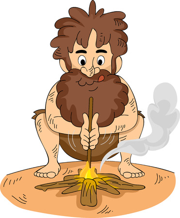 making a fire: Illustration of a Stranded Man Making a Fire Stock Photo