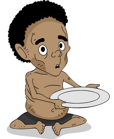 空のプレートを保持している栄養失調のアフリカの子供のイラスト 写真素材
