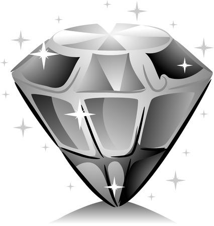 diamond clip art: Black and White Illustration of a Sparkling Diamond