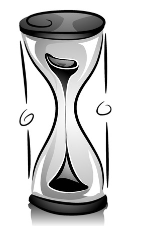 quickly: Black and White Illustration of an Hour Glass with Sand Quickly Falling Down