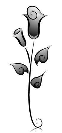 dainty: Black and White Illustration of Dainty Rose Buds