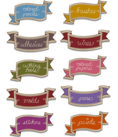 Illustration of Ready to Print Labels Featuring Words Related to Arts and Crafts Stock Photo
