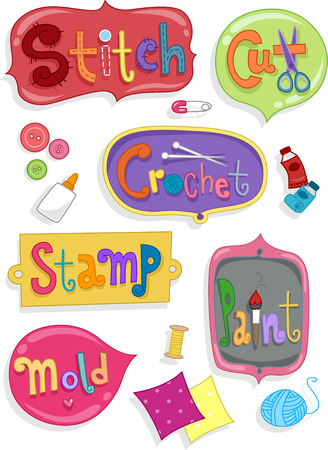 craft materials: Illustration of Ready to Print Labels Featuring Words Related to Arts and Crafts Stock Photo