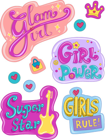 clip arts: Illustration Featuring Ready to Print Stickers with Designs Commonly Associated with Girls Stock Photo