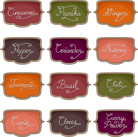 Illustration of Ready to Print Labels Featuring the Names of Different Spices