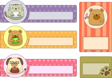 pre school: Illustration of Ready to Print School Labels Featuring Cute Animals