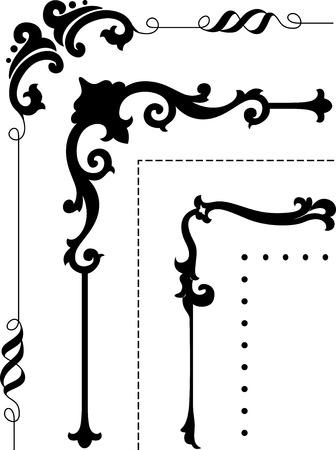 corner border: Corner Border Illustration Featuring Ornate Stencils in Black and White