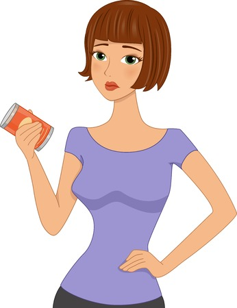 spoiled: Illustration of a Disappointed Girl Holding an Expired Canned Good or Sad about labels