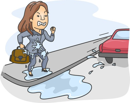 splashed: Illustration of a Woman Pissed Off at the Driver Who Splashed Water All Over Her Stock Photo