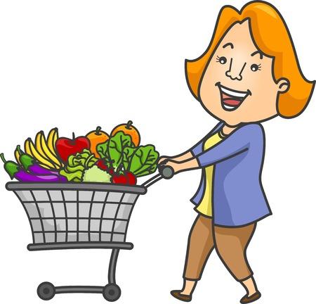 empujando: Ilustración de una mujer empujando un carrito de la compra lleno de frutas y hortalizas