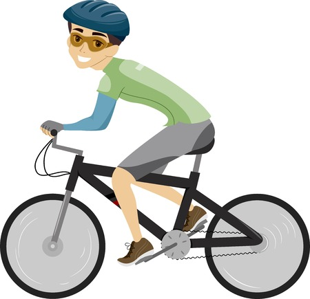 pedaling: Illustration of a Man Dressed in Biking Gear Pedaling on His Bike