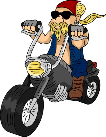 cartoon biker: Illustration of a Bearded Man Riding a Customized Motorcycle Stock Photo