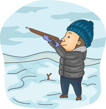 Illustration of a Man Dressed in Winter Clothes Taking Aim with His Rifle illustration