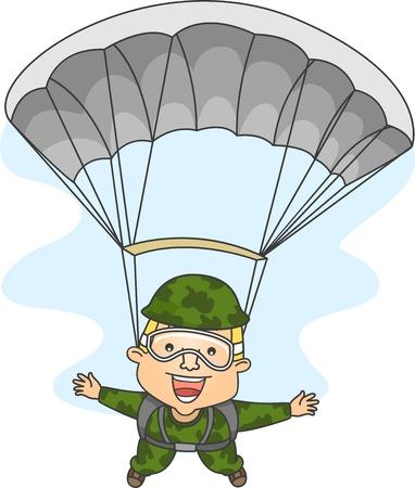 legs spread: Illustrazione di un paracadutista maschile con braccia e gambe divaricate