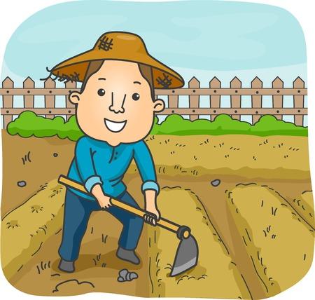 鍬を使用して庭のプロットを育成する男性の農家のイラスト