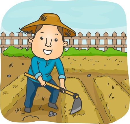 grower: Illustration of a Male Farmer Using a Hoe to Cultivate a Garden Plot