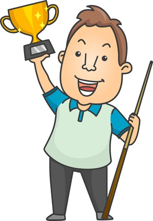 cue stick: Illustration of a Man Holding a Cue Stick in One Hand and a Trophy in the Other