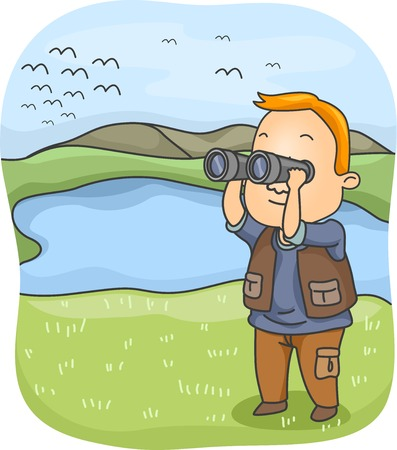 Illustration of a Man Using a Pair of Binoculars to Observe Birds