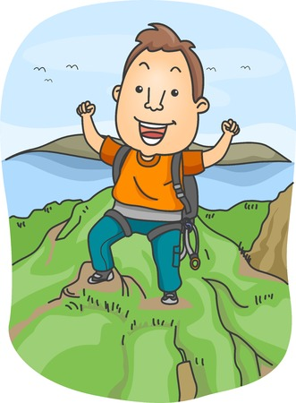 climbing gear: Illustration of a Man Dressed in Climbing Gear Standing Triumphantly on the Top of a Mountain Stock Photo