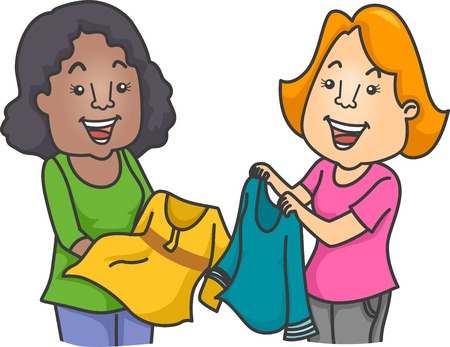 swapping: Illustration of Women Swapping Clothes