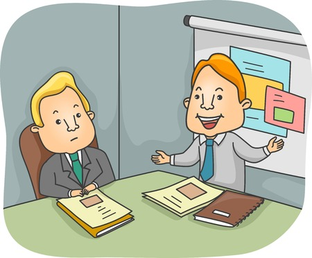 disinterested: Illustration of a Man Presenting a Business Proposal