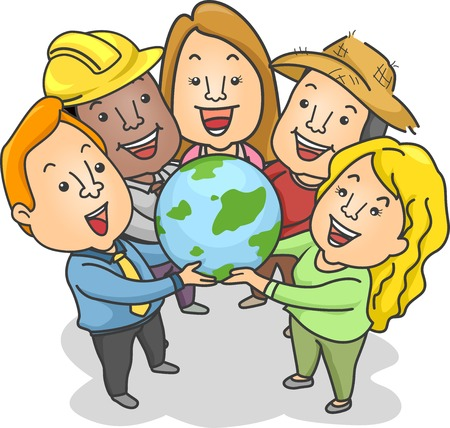 different jobs: Illustration of People of Different Jobs and Races Holding a Globe Together