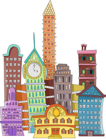 punctuate: Doodle Illustration of a Cityscape Punctuated with Buildings