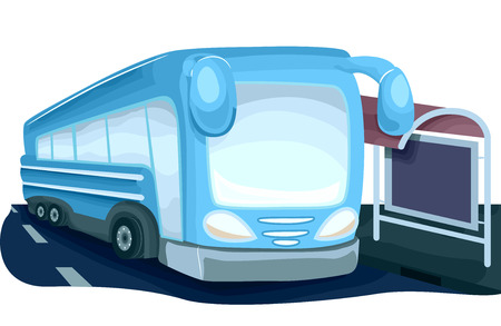 bus stop: Illustration Featuring a Modern Looking Bus Parked Beside a Bus Stop