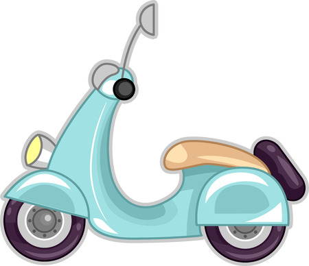 jazzy: Illustration Featuring a Stylish Blue Scooter