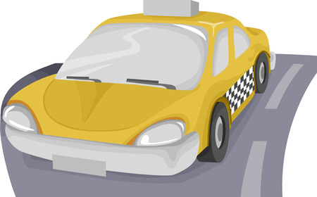 empty road: Illustration Featuring a Taxi in an Empty Road