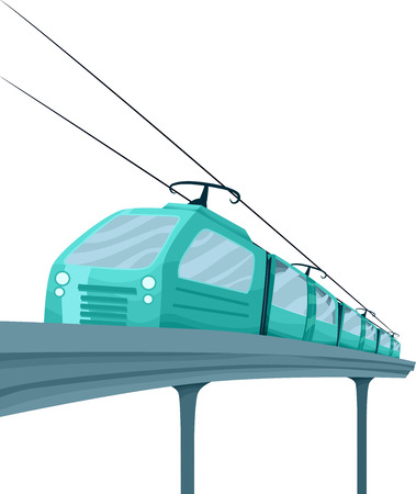 jazzy: Illustration Featuring a Stylish Blue Electric Train