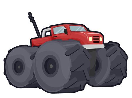 gigantesque: Illustration d'un camion de route Off avec Gigantic Roues