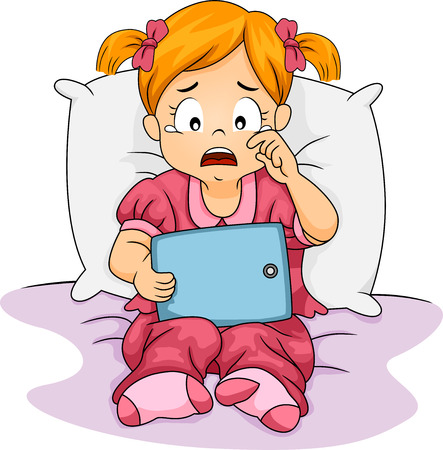Illustration of a Little Girl Crying While Holding a Tablet Computer illustration