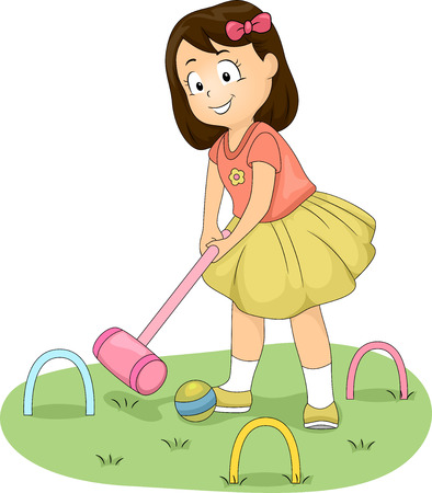 Illustration of a Little Girl Hitting a Ball with a Croquet Mallet Фото со стока