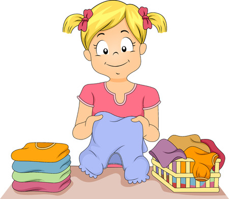 Illustration of a Little Girl Folding a Stack of Clothes