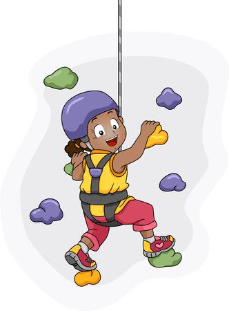 niño trepando: Ilustración de un uso de la niña Arnés Escalado de un Muro Foto de archivo