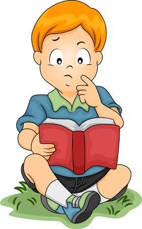 Illustration of a Little Boy Thinking About Something While Reading a Book illustration