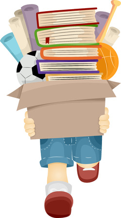 boyish: Illustration of a Boy Carrying a Box Filled with Books and Toys Stock Photo