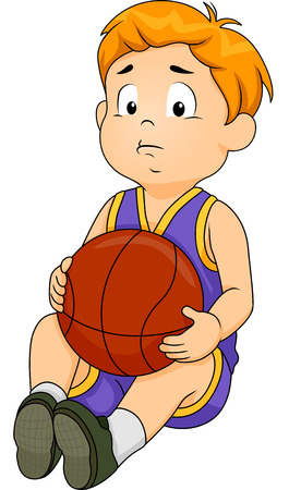 Illustration of a Little Boy in Basketball Gear Wearing a Sad Expression on His Face illustration