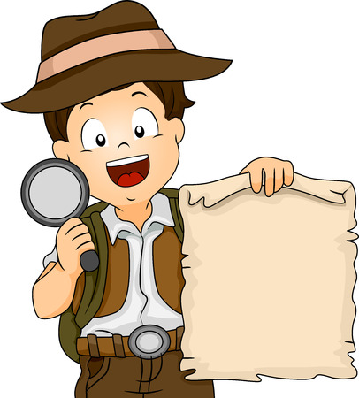 hunts: Illustration of a Boy in Camping Gear Holding a Treasure Map and a Magnifying Glass