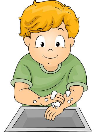 lavandose las manos: Ilustración de un Niño lavándose las manos con jabón