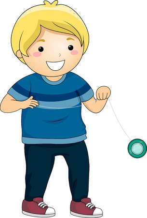 yoyo: Illustration of a Little Boy Playing with a Yoyo Stock Photo