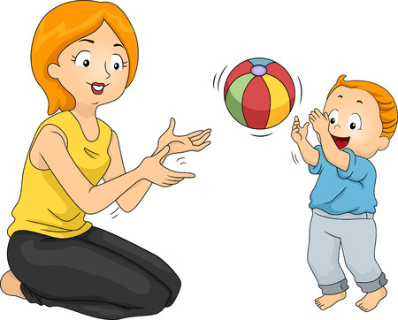 pelota caricatura: Ilustración de una madre jugando con su hijo